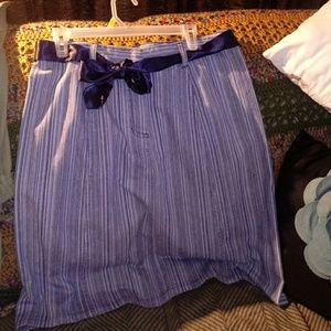 NWT Denim-like Pinstriped Skirt /Belt-sz.14